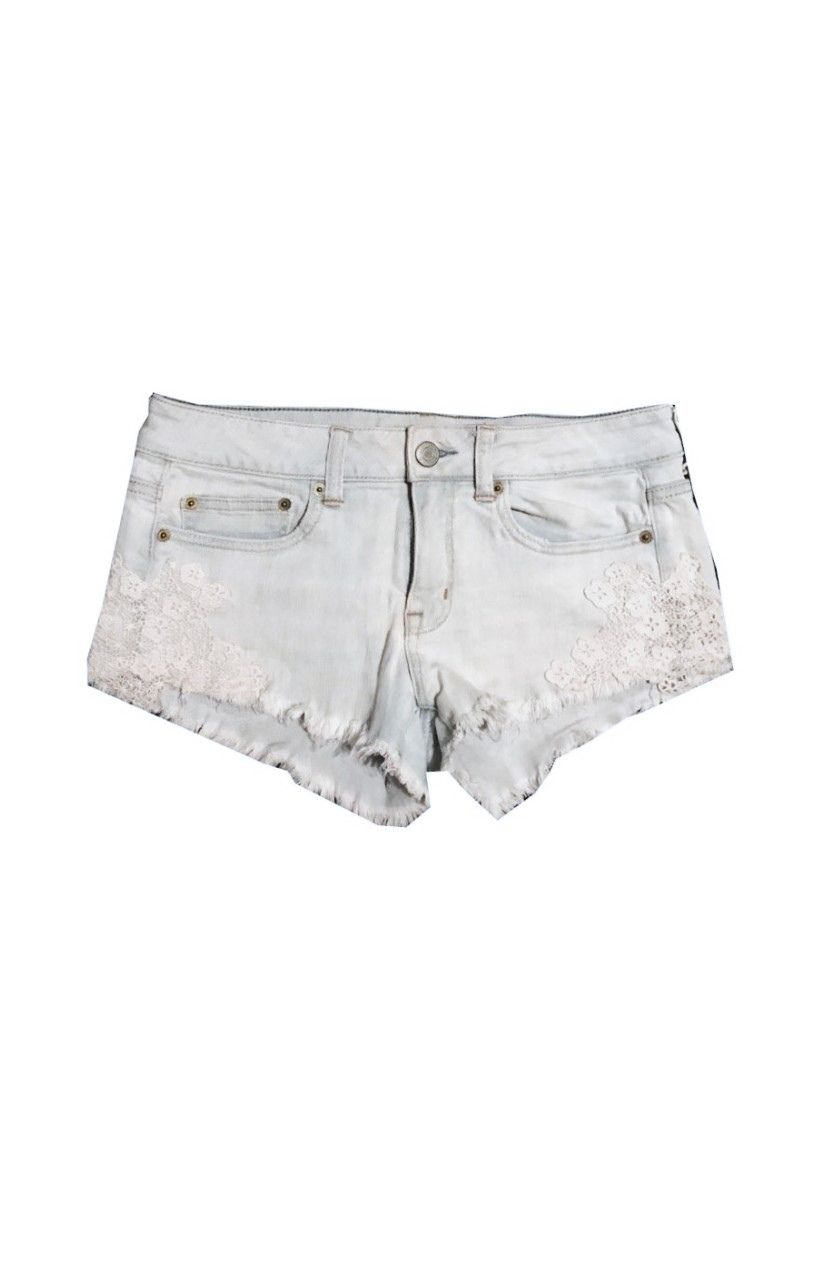 American Eagle Lace Side Denim Shorts