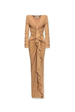 Alexandre Vauthier Ruched Crystal-Embellished Gown
