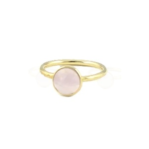 Peggy Li Round Cut Gemstone 'Rose Quartz' Ring