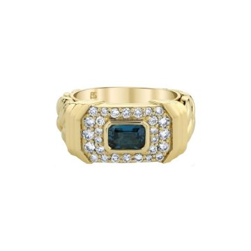 Ruby Stella 14k Diamond Blue Topaz Link Ring