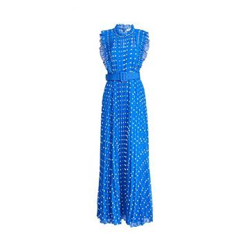 Self Portrait Polka Dot Chiffon Maxi Dress