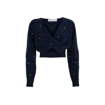 Self-Portrait Diamonte Cropped Twist Sweater